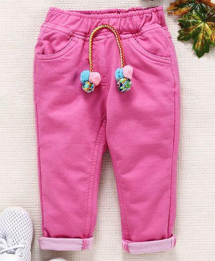 Little Kangaroos Full Length Trouser With Pom Pom Drawstrings - Pink