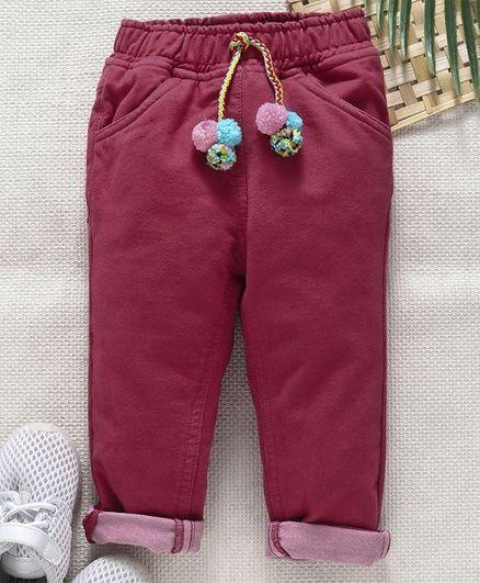 Little Kangaroos Elastic Waist Trousers - Maroon