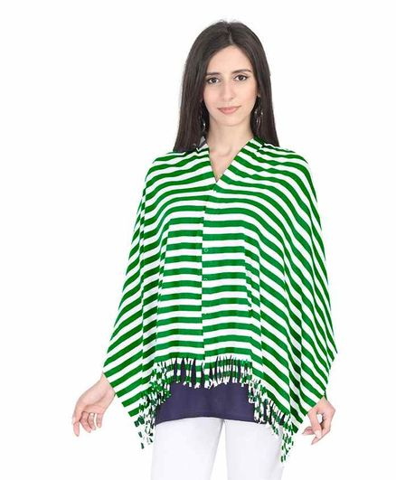 Lulamom Breathable Breast Feeding Multi Purpose Nursing Scarf Striped Pattern - Green