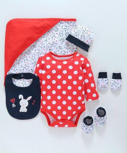 Babyoye Cotton Clothing Gift Polka & Rabbit Print Set of 6 - Red Blue