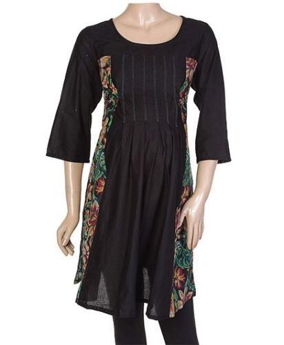 W Quarter Sleeves Tunic  Kurta - Floral Print At The Sides