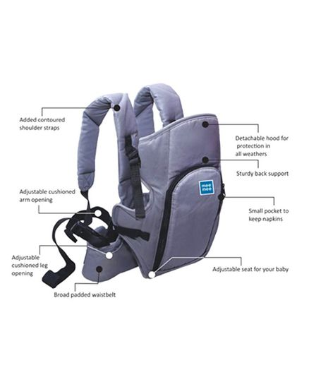 Mee Mee Cuddle Up Baby Carrier With Padded Waist Belt - Grey