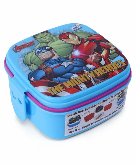 Marvel Avengers Lunch Box With 2 In 1 Fork & Spoon - Blue Purple
