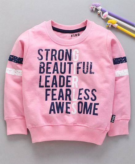 Fido Full Sleeves Sweatshirt Text Print - Light Pink
