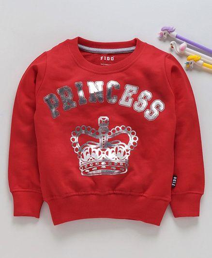 Fido Full Sleeves Sweatshirt Princess Glitter Print - Red