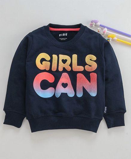 Fido Full Sleeves Sweatshirt Girls Can Print - Navy Blue