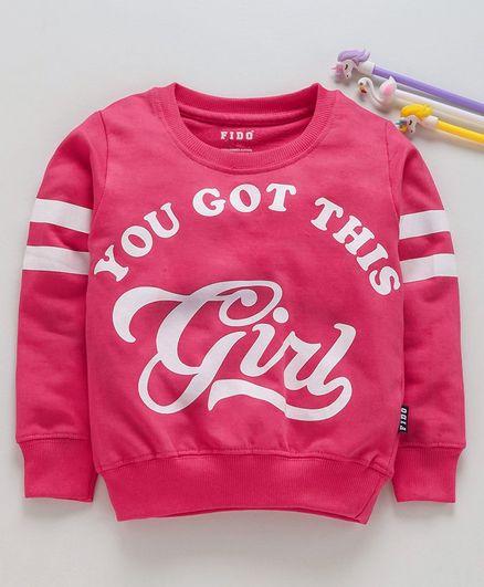 Fido Full Sleeves Sweatshirt Girl Print - Fuchsia Pink