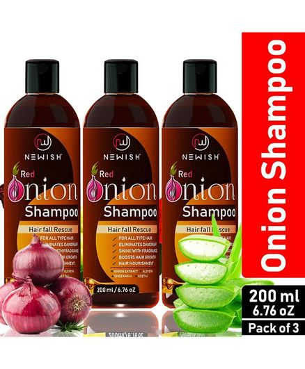 Newish Red Onion Shampoo For Hair Fall Control & Re-growth Pack of 3 - 200 ml each