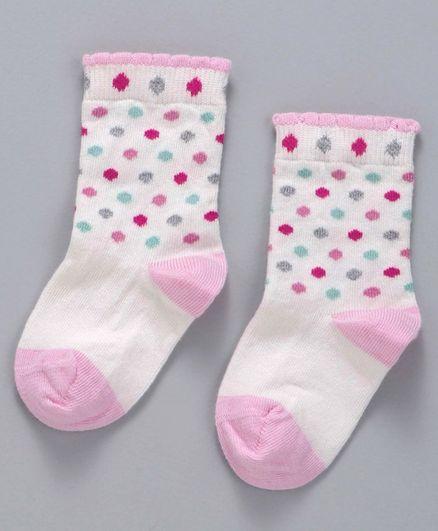 Mustang Quarter Length Socks Dot Design - Off White Pink