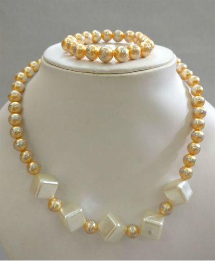 Tiny Closet Cube Shape Necklace & Bracelet Set - Gold