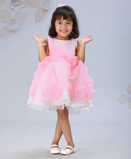Mark & Mia Sleeveless Party Frock Floral Corsage - Pink White