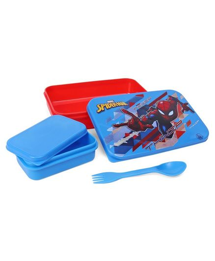 Marvel Spider Man Lunch Box with Container & Fork Spoon - Red & Blue