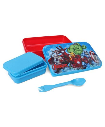 Marvel Avengers Lunch Box With Container & Spoon - Blue Red