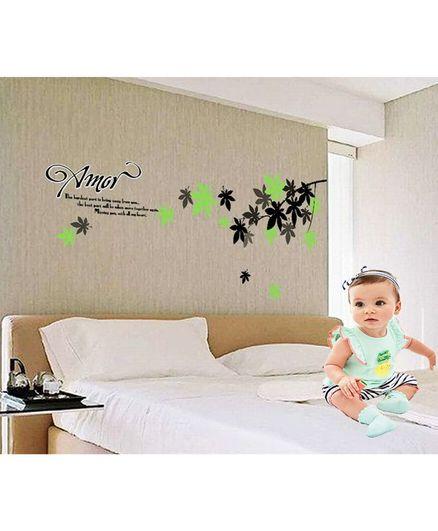 Syga Beautiful Flowers PVC Vinyl Wall Sticker - Green and Grey