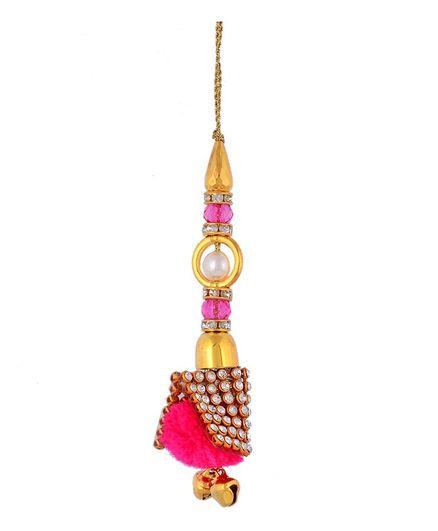 Little Palz Beaded & Ghungaroo Detailed Lumba Rakhi - Pink