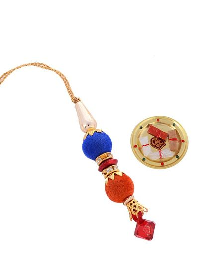 Little Palz Dual Toned Beaded Lumba Rakhi With Small Pooja Thali - Multi Color