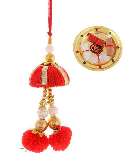 Little Palz Pom Pom Detailed Rakhi With Pooja Thali - Red