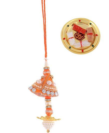 Little Palz Beaded Rakhi With Pooja Thali - Orange