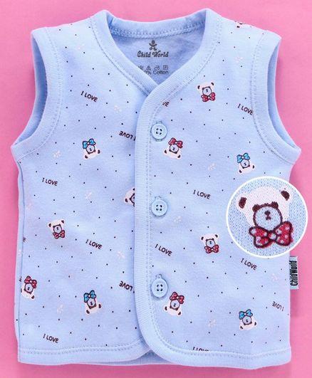 Child World Sleeveless Vest Bear Print - Sky Blue