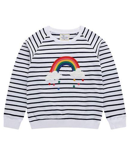 Pre Order - Awabox Striped & Rainbow Patch Full Sleeves Sweatshirt - Navy Blue