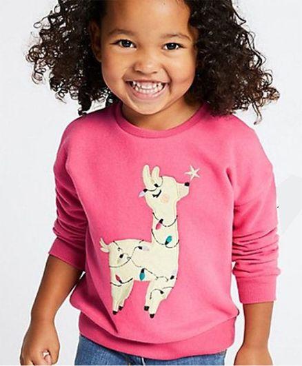 Pre Order - Awabox Alpaca Animal Printed Full Sleeves Sweatshirt  - Pink