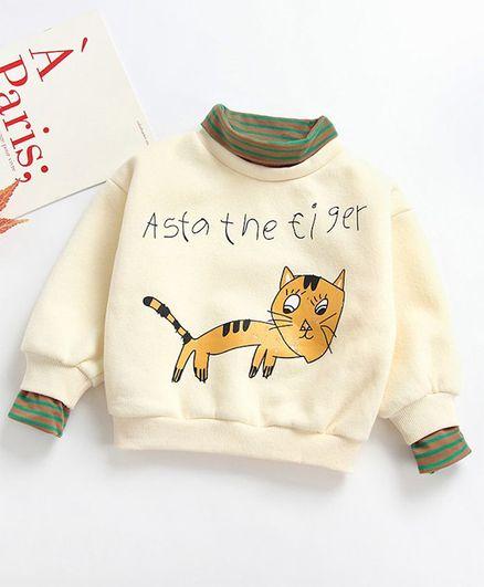 Pre Order - Awabox Full Sleeves Cat Print High Neck Sweatshirt - Cream