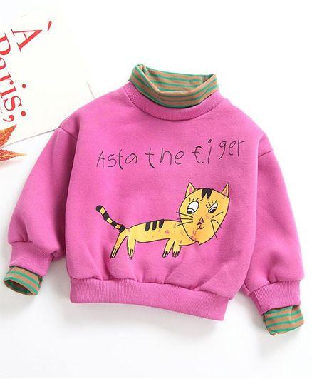 Pre Order - Awabox Full Sleeves Cat Print High Neck Sweatshirt - Pink