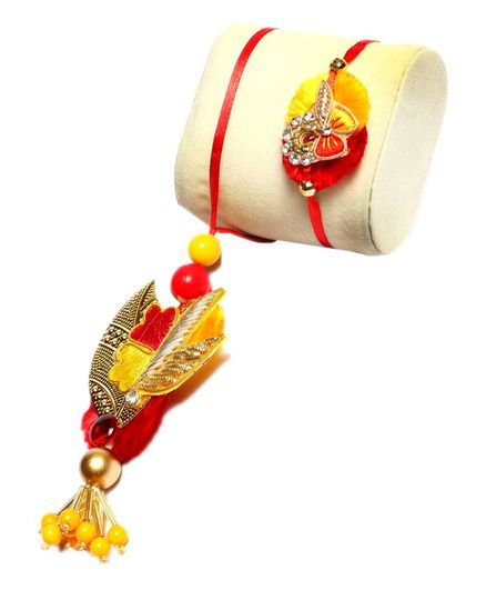 Passion Petals Leaf Flower Design Rakhi Pack of 2 - Red, Yellow