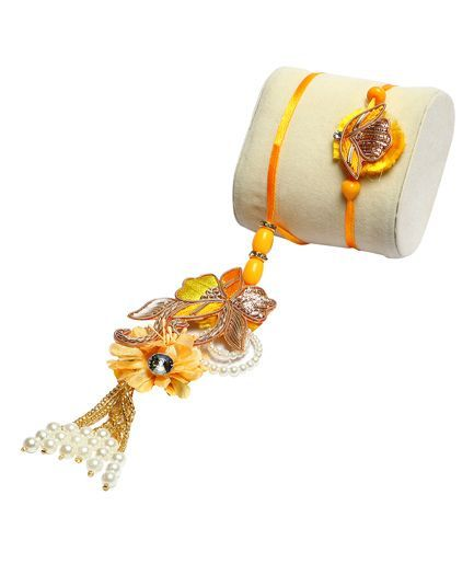 Passion Petals Flower with Perals Rakhi Pack of 2 - Multicolour