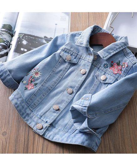 Pre Order - Awabox Denim Full Sleeves Flower & Butterfly Embroidered Jacket - Light Blue