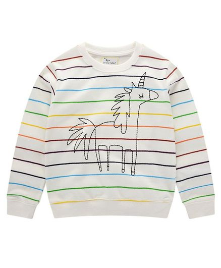 Pre Order - Awabox Horse Embroidered & Striped Full Sleeves Sweatshirt - White