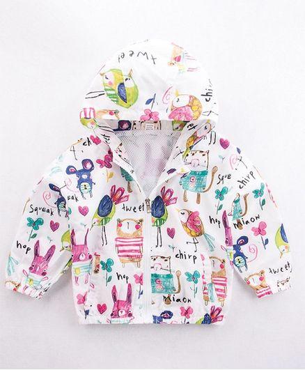 Pre Order - Awabox Full Sleeves Bunny Print Hooded Jacket - White