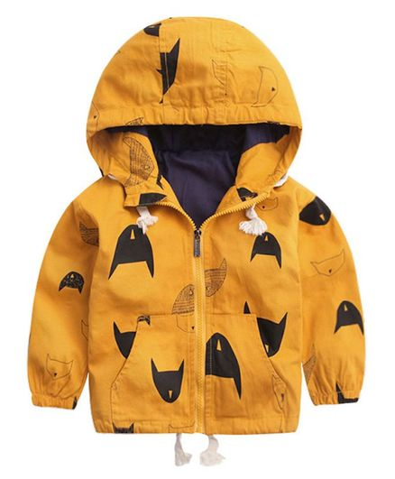Pre Order - Awabox Full Sleeves Cat Silhouette Print Hooded Jackets - Yellow