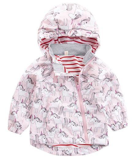 Pre Order - Awabox Full Sleeves Unicorn Print Hooded Jacket - Light Pink