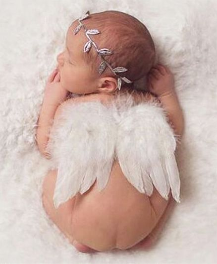 Babymoon Angel Wings with Crown New Born Baby Photography Photoshoot Props Costume - White