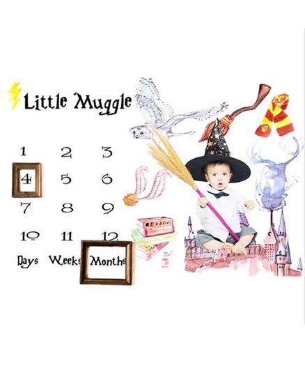 Babymoon Little Muggle Designer Photography Bedsheet - Multicolour