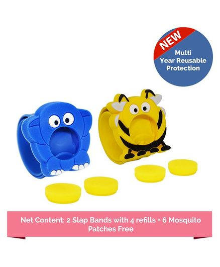Safe-O-Kid Mosquito Repellent Ayurvedic Bands Pack of 2 - Blue Yellow