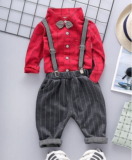 Pre Order - Awabox Checkered Full Sleeves Shirt & Striped Suspender Pants With Attached Bow Tie - Red