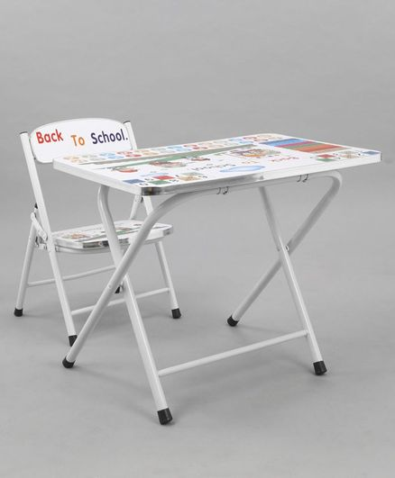 Study Table With Chair Back To School Print - White