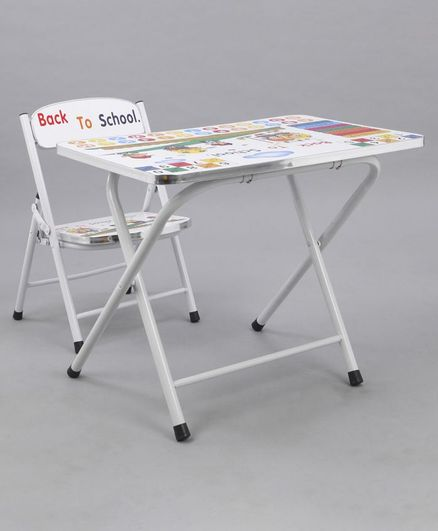 Study Table With Chair Alphabet & Number Print - White