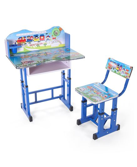 Study Table With Chair Alphabet & Number Print - Blue