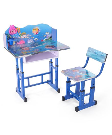 Kids Study Table With Chair Sea Print - Blue