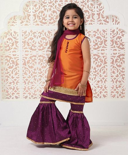 Ridokidz Solid Sleeveless Kurta With Dupatta & Sharara Set - Orange