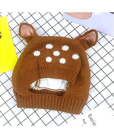Ziory Winter Wear Cap Deer Design - Brown