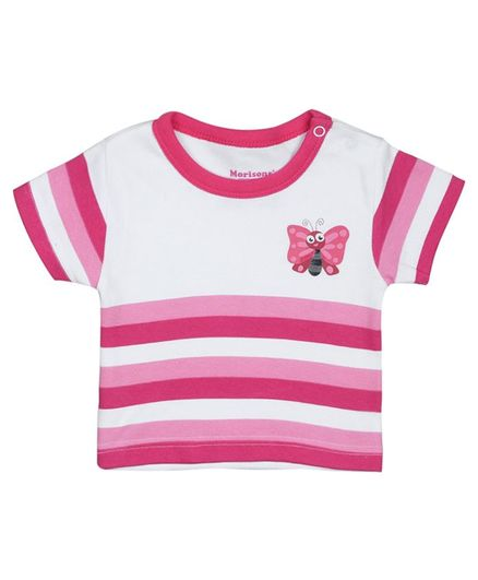 Morisons Baby Dreams Half Sleeves Striped T-Shirt Butterfly Print - Pink
