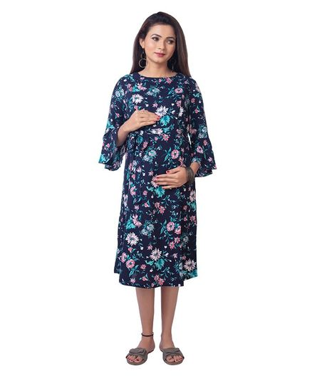 Kriti Three Fourth Sleeves Floral Maternity Dress - Navy Blue