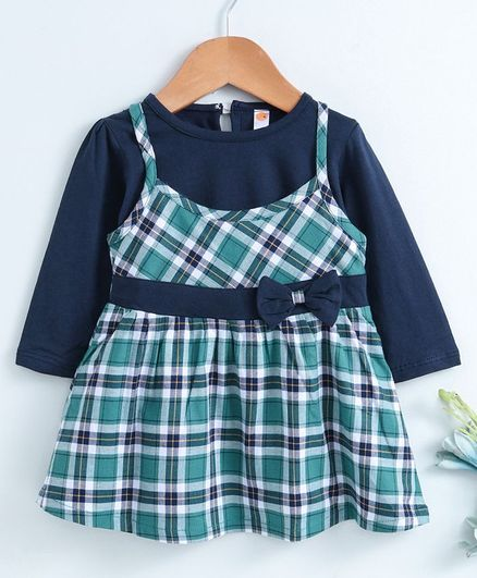 Dew Drops Checked Frock With Full Sleeves Inner Tee - Green Blue