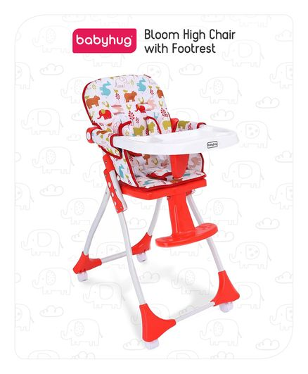 Babyhug High Chair with Footrest Animal Print - Red