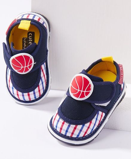 Cute Walk by Babyhug Canvas Shoes Ball Patch - Navy Blue