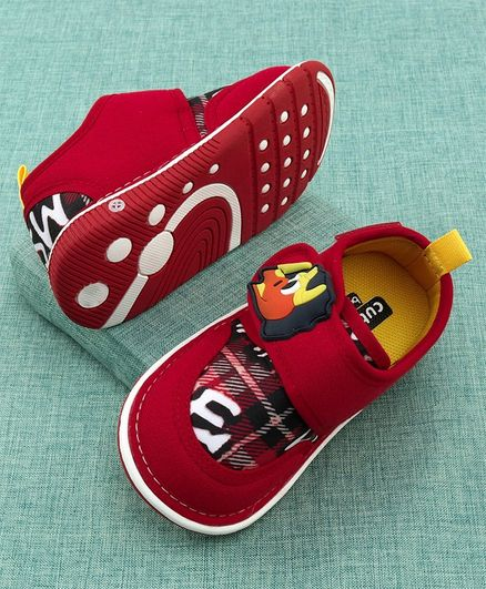 Cute Walk by Babyhug Canvas Shoes Dino Patch - Red